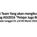 Pengumuman ADJ2016 Tahap kedua